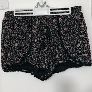 Blue Floral Patterned Shorts
